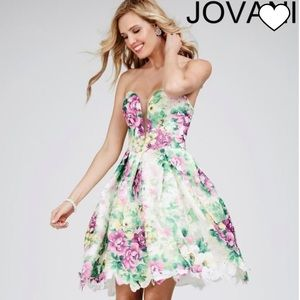Jovani Floral and Rhinestone Strapless Size 6